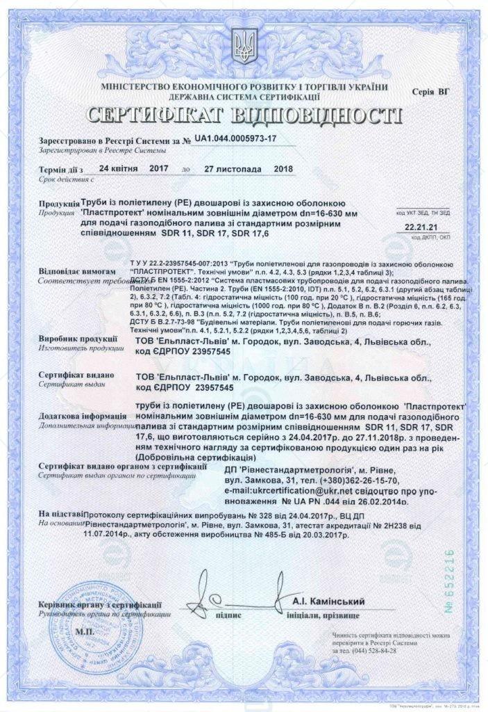 Сертифікат відповідності - Пластпротект_газ Ельпласт