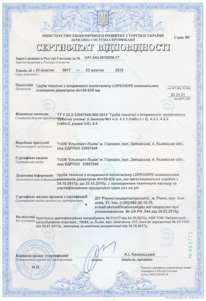 Сертифікат відповідності - Труби технічні з вторинного поліетилену Ельпласт